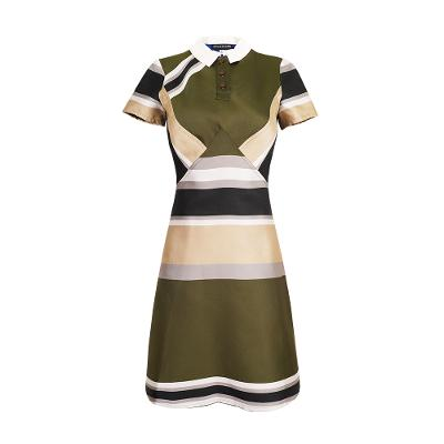 elegant stripe pattern midi dress khaki